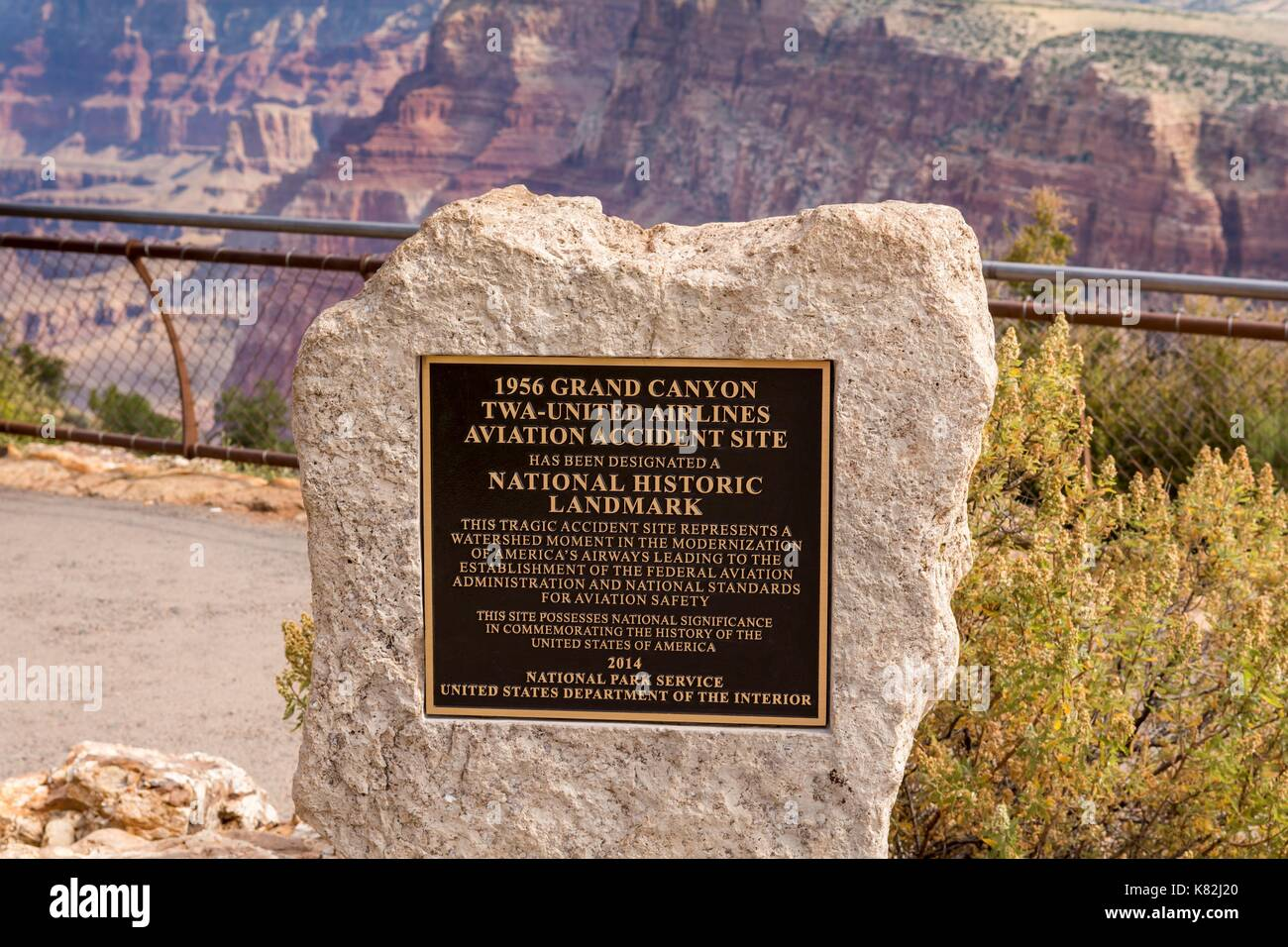 National Historic Landmark designating site of the 1956 mid-air crash of two commercial airliners over the Grand Canyon National Park in Arizona, USA. - Stock Image