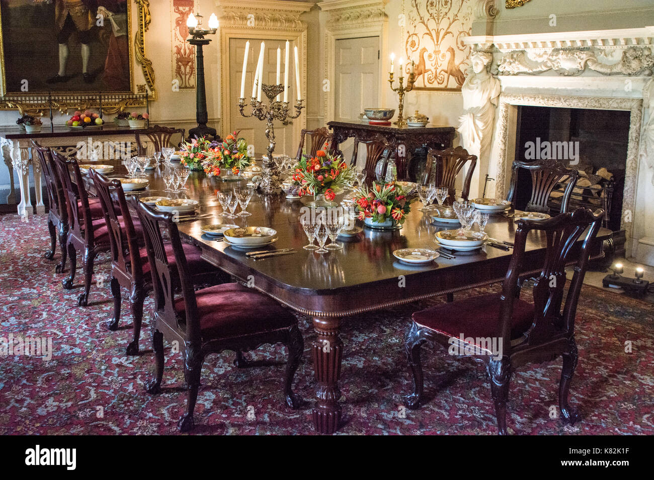 Regal Dining Room In English Stately Home Yorkshire England