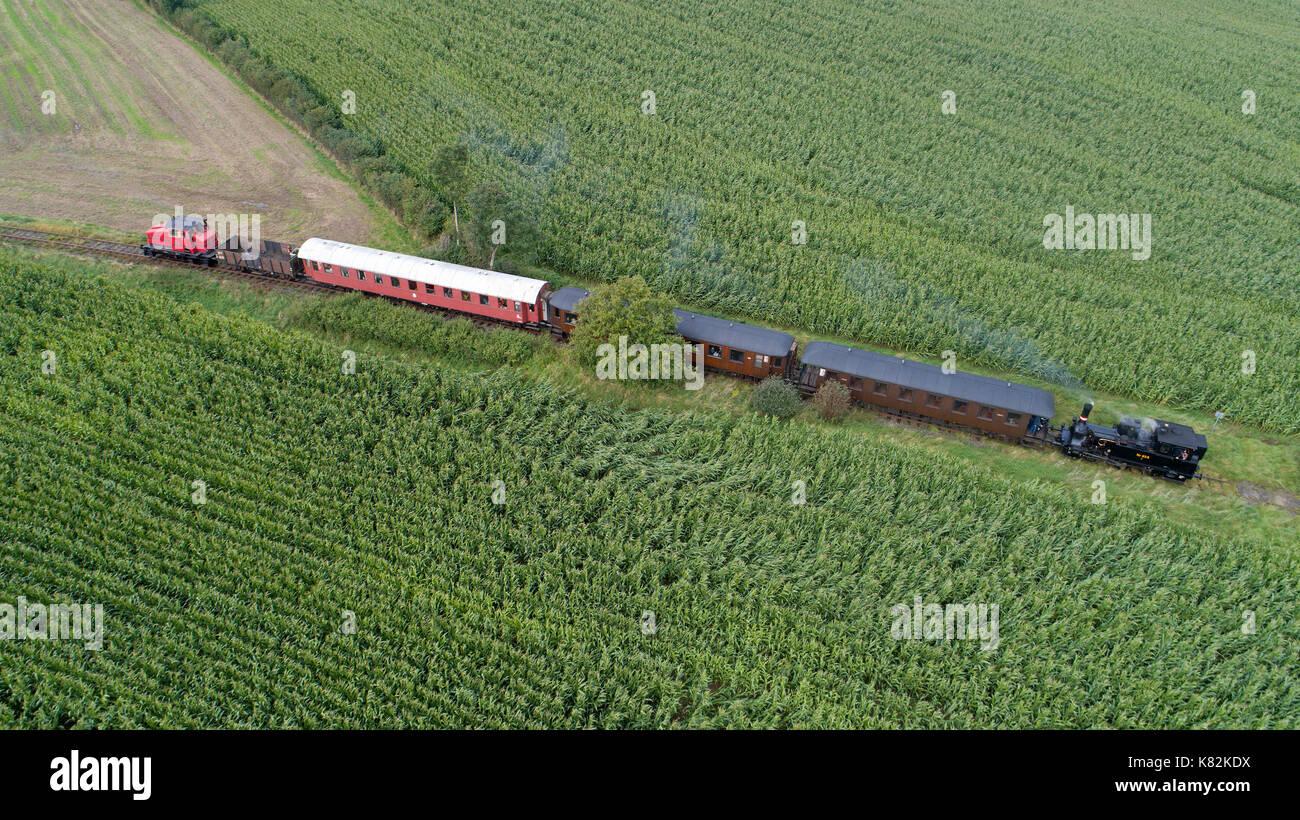Angelner Dampfeisenbahn near Scheggerott, Schleswig-Holstein, Germany - Stock Image