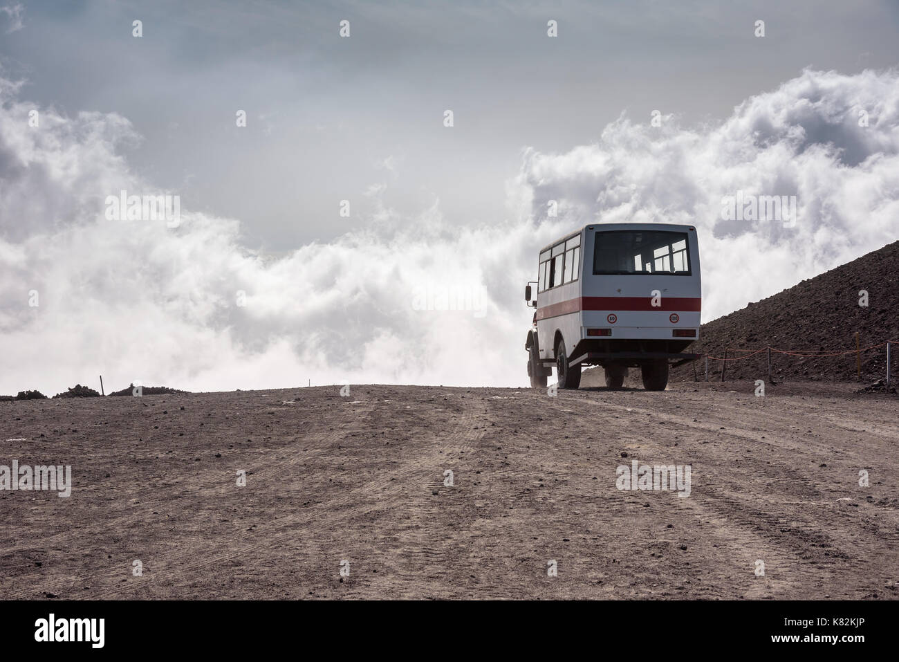 Departing bus from Torre del Filosofo on Mount Etna, Sicily, Italy Stock Photo