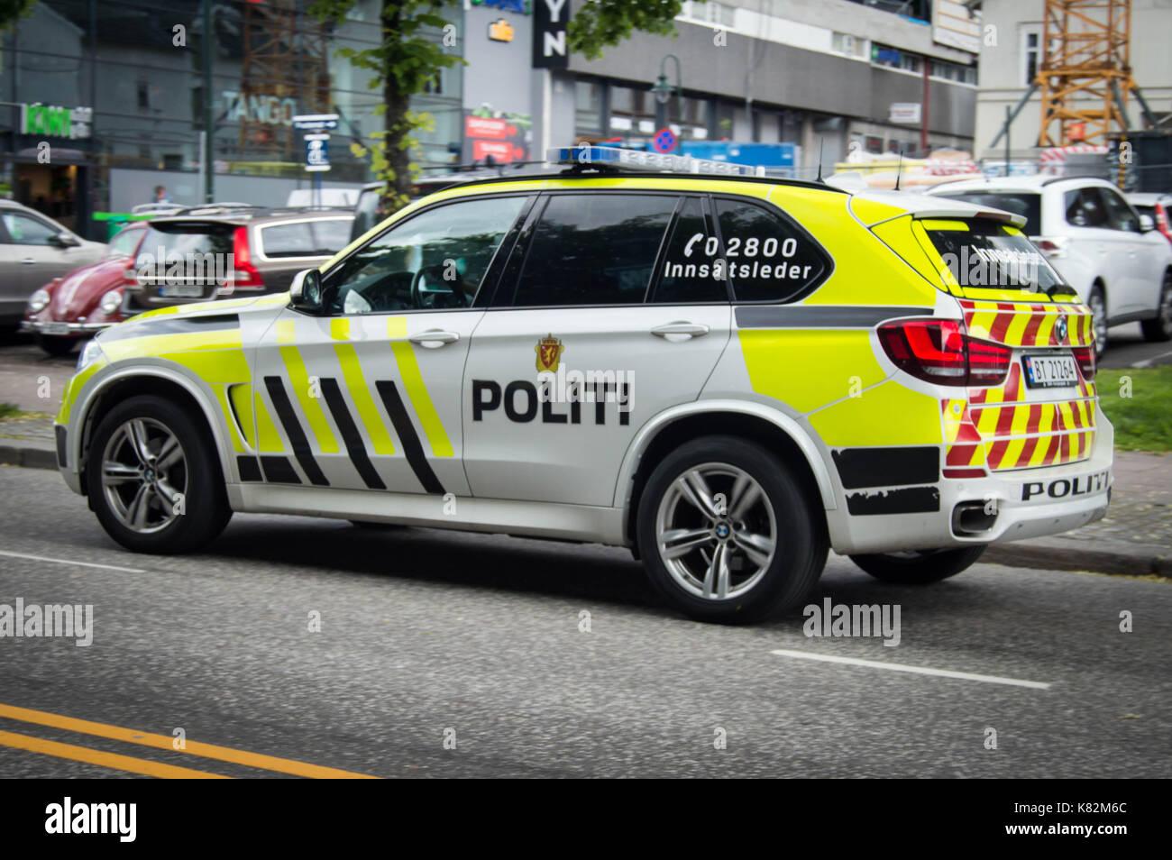 Norwegian Police BMW X5 in Tønsberg - Stock Image