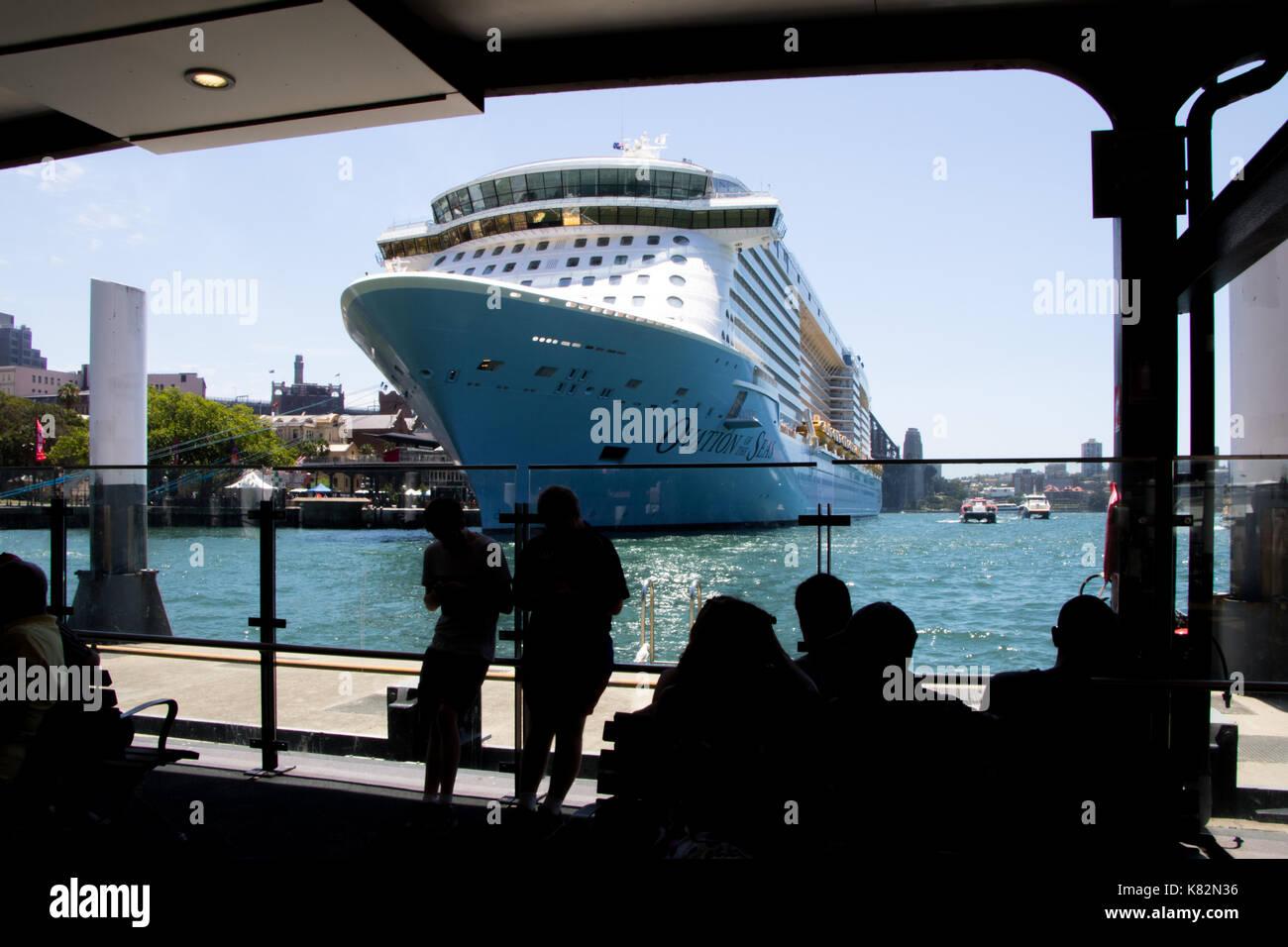 Cruise ship at the Overseas Passenger Terminal at Circular Quay, Sydney - Stock Image