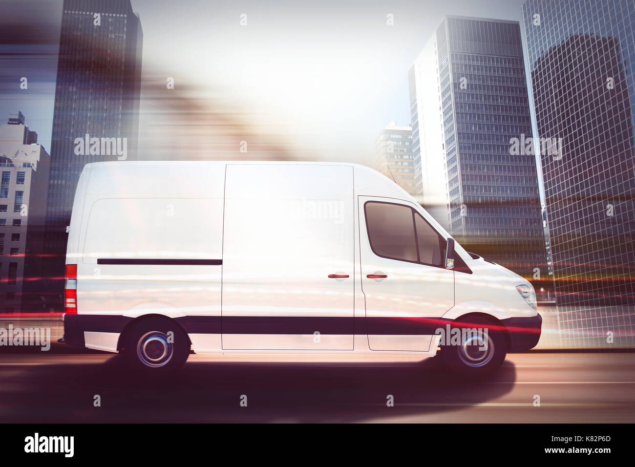 Fast van on a city road . 3D Rendering - Stock Image