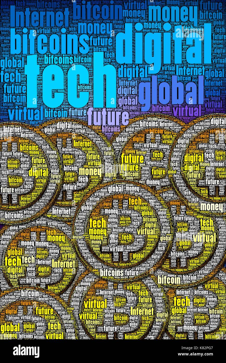 Bitcoins concept art made only with words about the subject. High detail in every word art photo I make. Guaranteed. - Stock Image