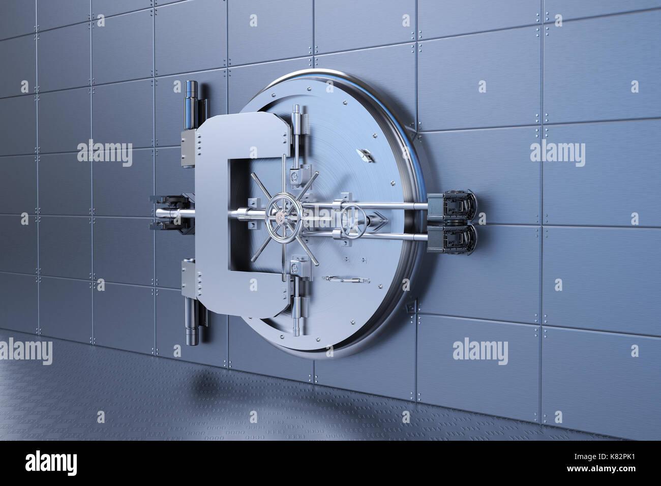 3d rendering metal bank vault on steel wall - Stock Image