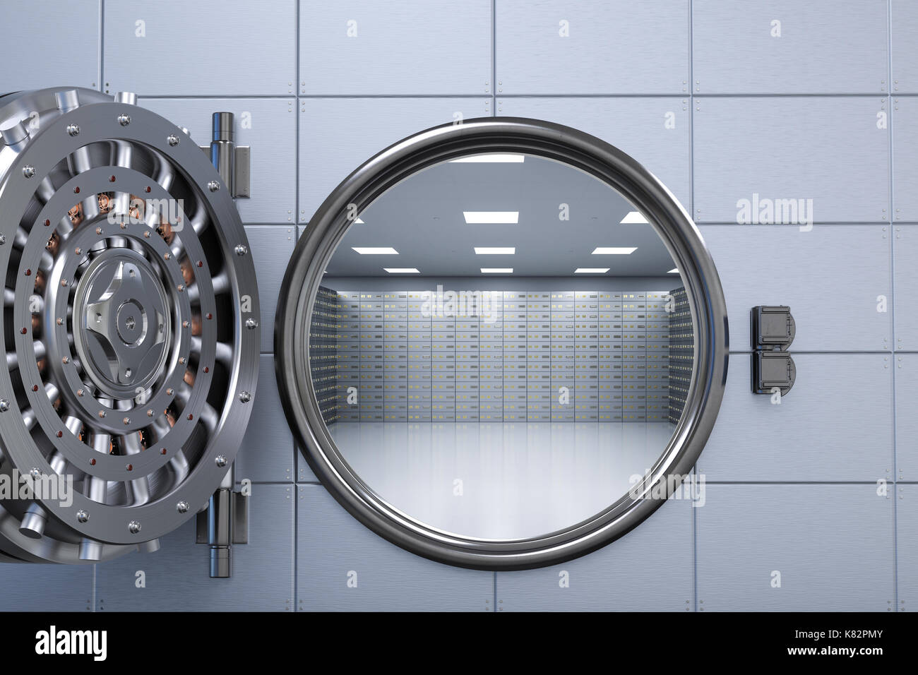 3d rendering bank vault opened with deposit boxes inside - Stock Image