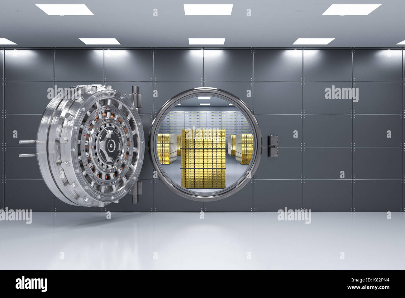 3d rendering bank vault opened with bullion inside - Stock Image
