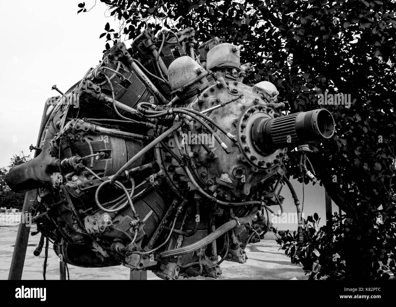 Black and white scene of 9 cylinder Radial Engine of old airplane - Stock Image