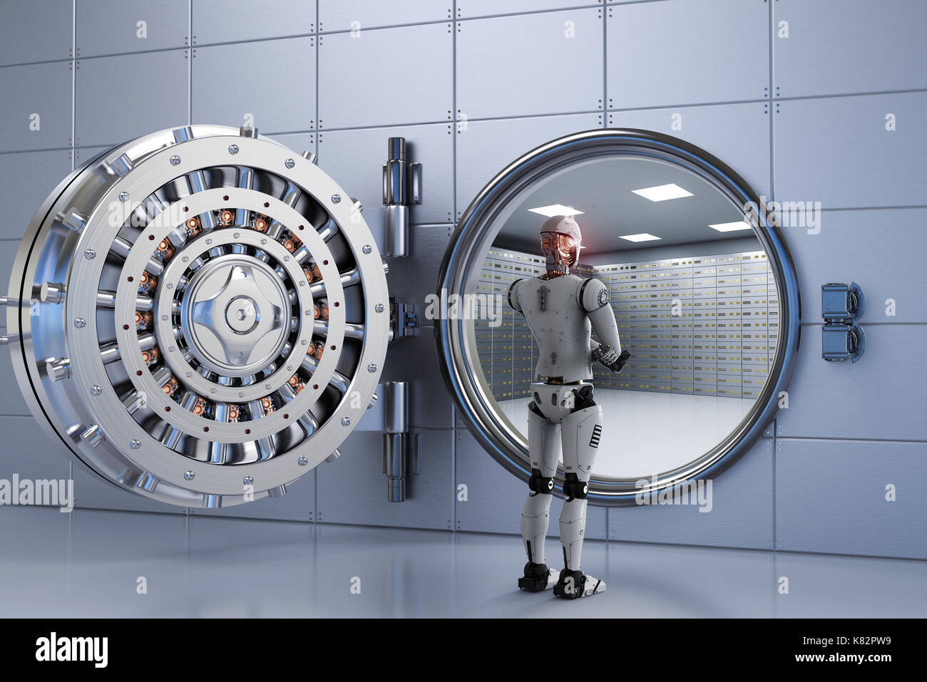 3d rendering humanoid robot working with bank vault - Stock Image