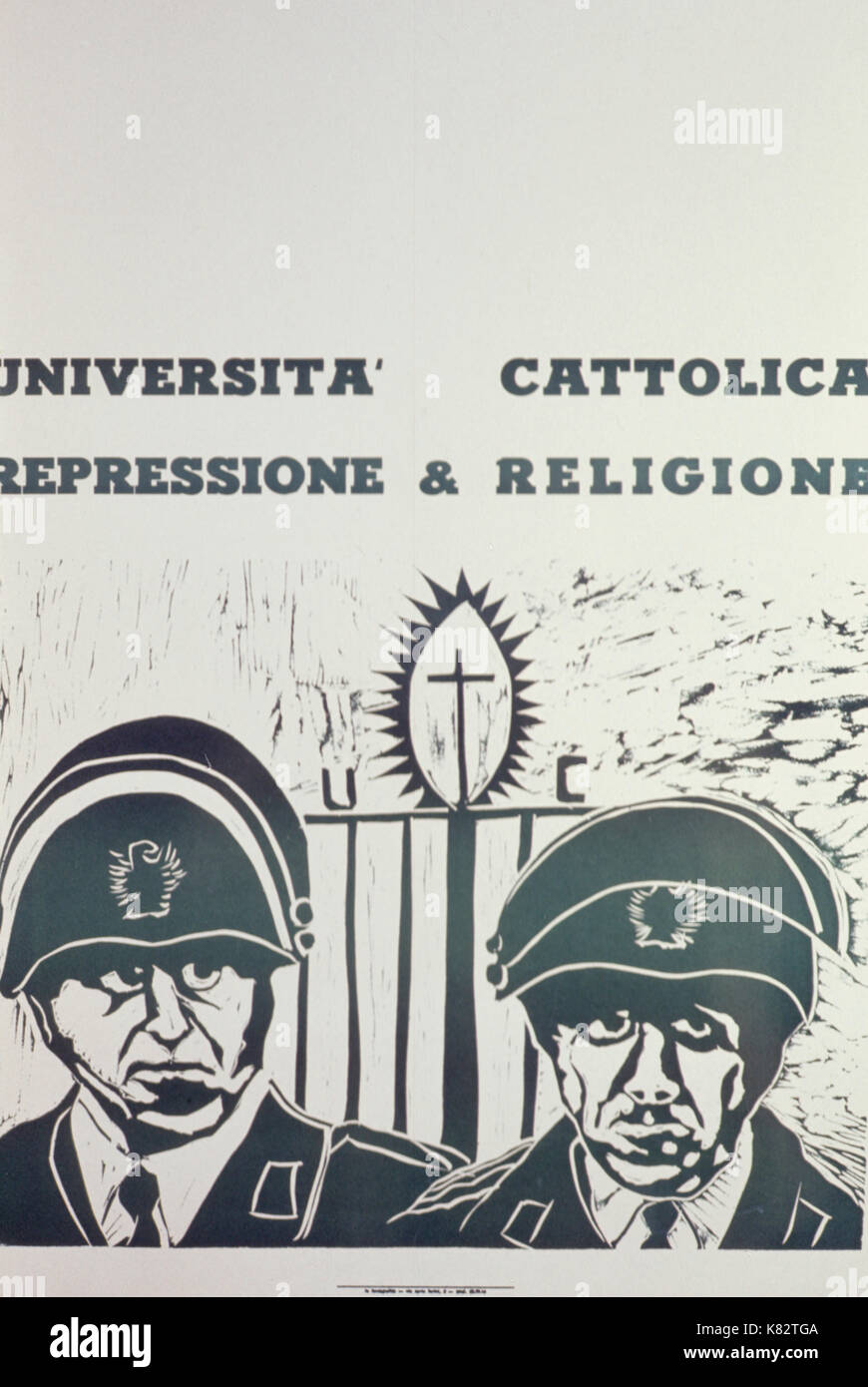 Catholic university repression & religion, poster - Stock Image