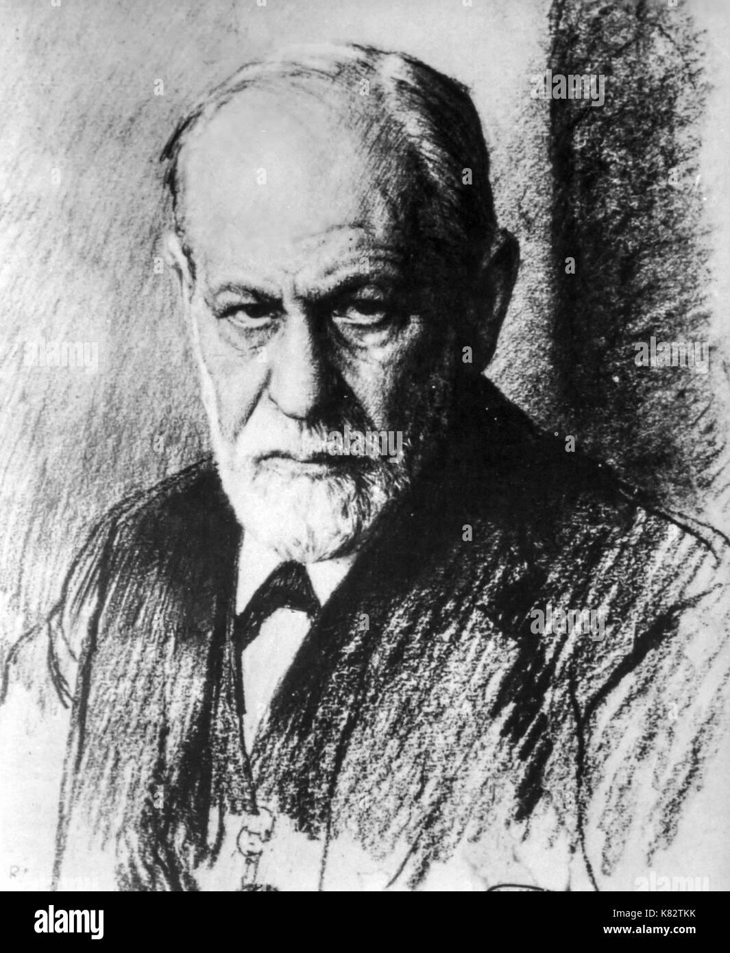 sigmund freud, portrait by ferdinand schmutzer, 1926 - Stock Image
