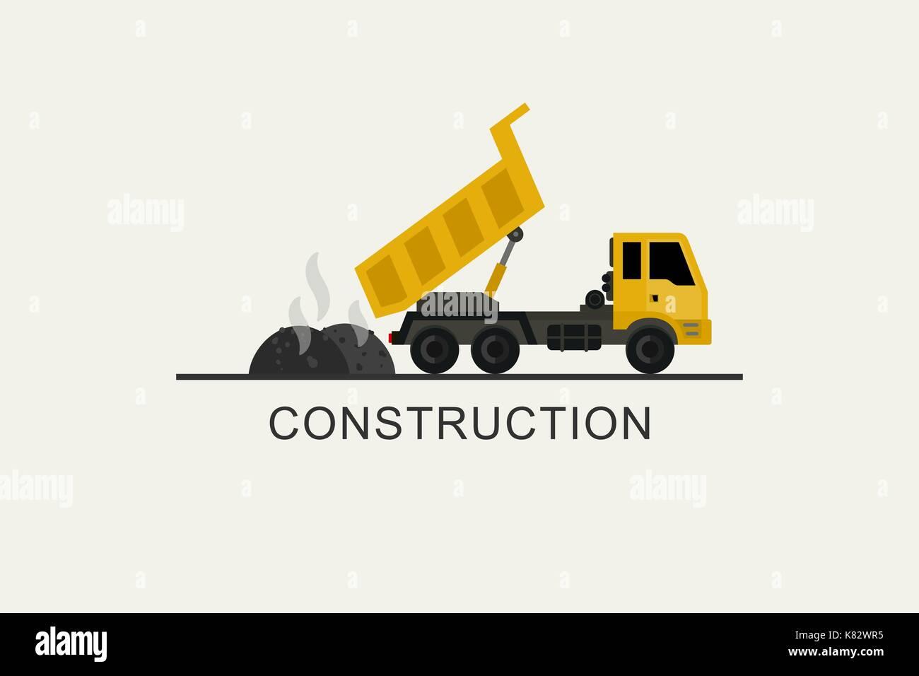Construction truck unloads asphalt - Stock Vector
