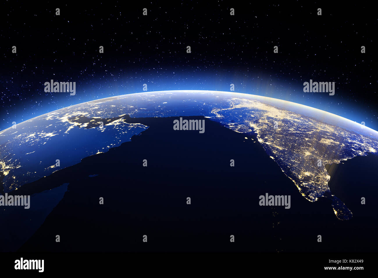 Planet Earth from space. 3d rendering - Stock Image