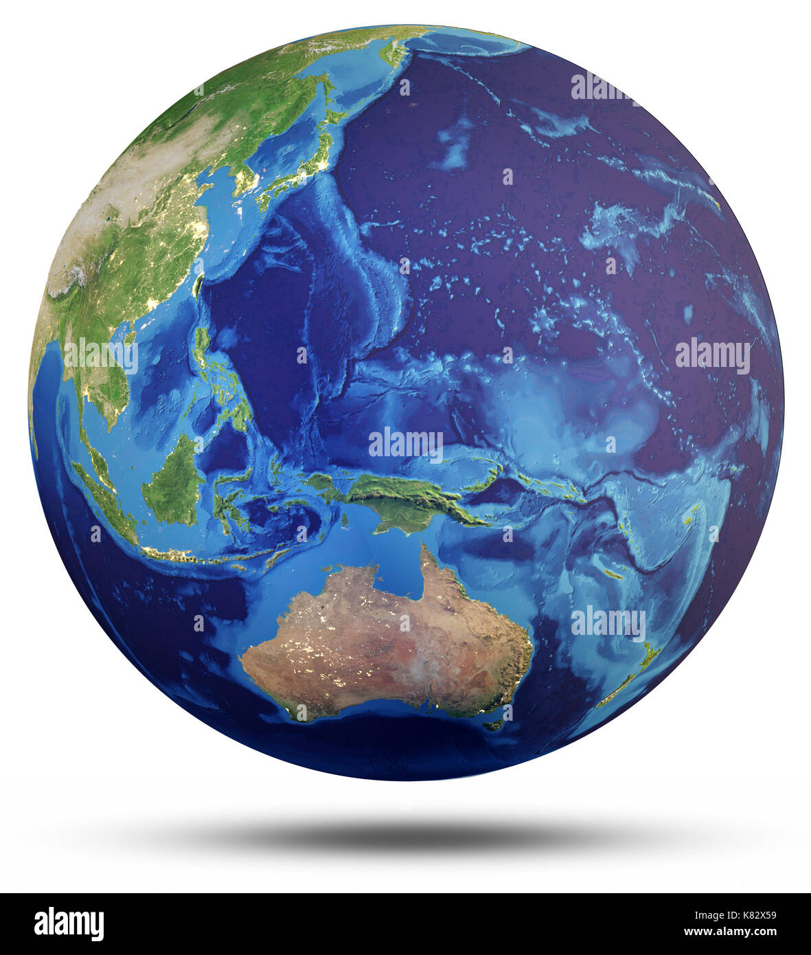Planet Earth world globe 3d rendering - Stock Image