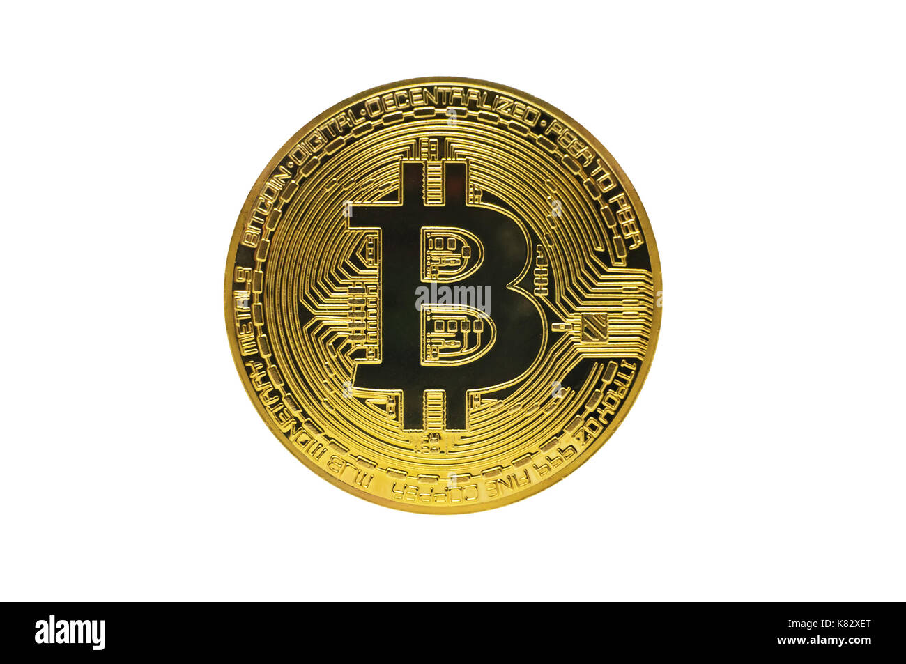 Golden Bitcoin Isolated On White Background Metal Coin Symbol