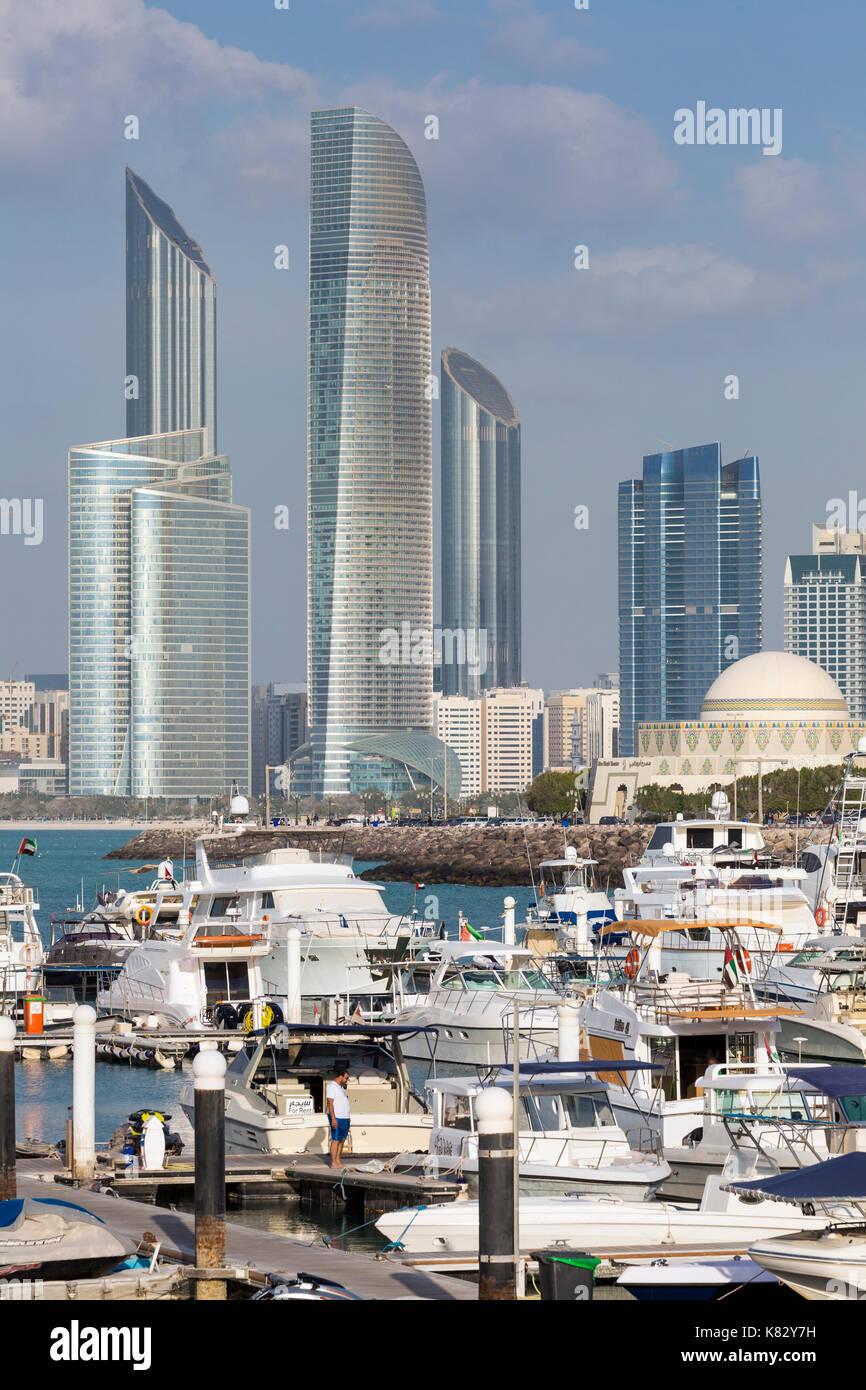 Modern city skyline and Marina, Abu Dhabi, United Arab Emirates, UAE Stock Photo