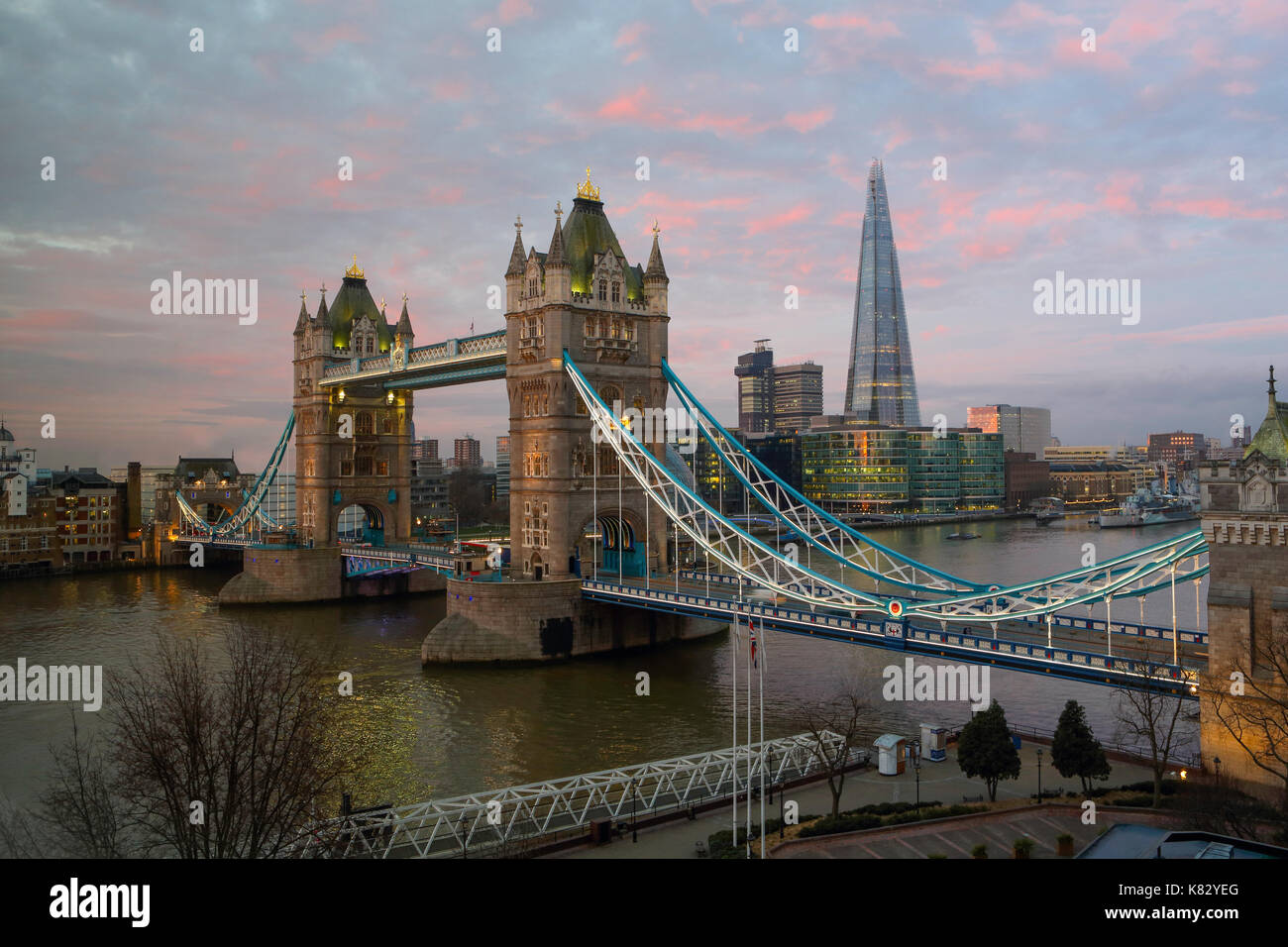 Tower Bridge and the Shard in London; UK. The Shard at 310m or over 1000 feet tall; is the tallest building in Europe - Stock Image