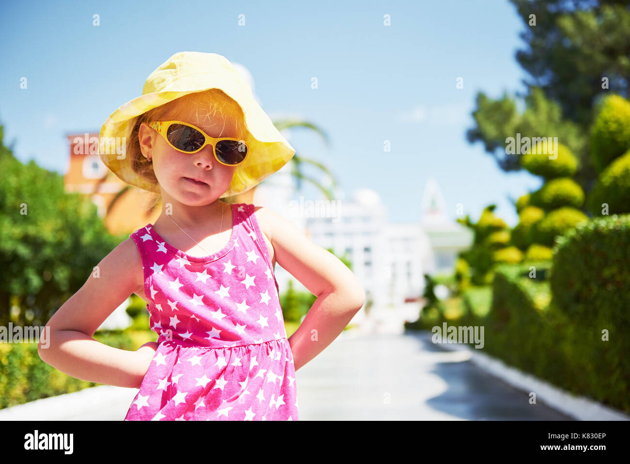 Portrait of a happy girl outdoors in summer day - Stock Image