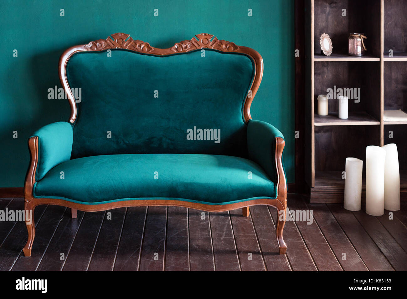 Antique Wood Sofa Couch In Vintage Room Classical Style Armchair Stock Photo Alamy