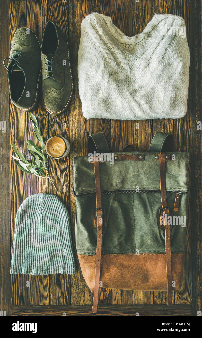 Flat-lay of Fall lady' s clothes trendy outfit and coffee - Stock Image
