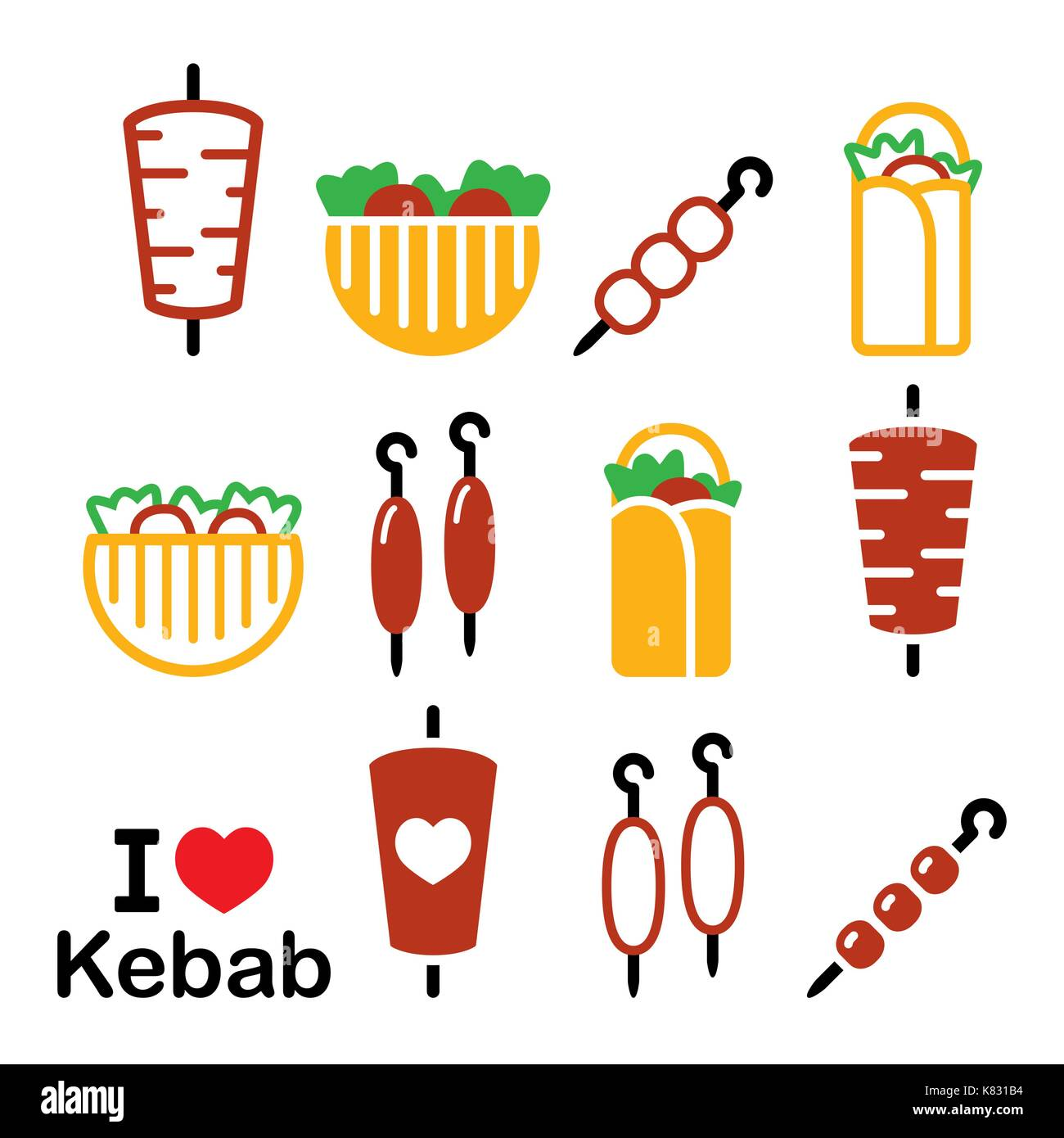 Doner kebab vector icons, kebab in wrap or pita bread, shish and adana kebab skewers design set - Stock Vector