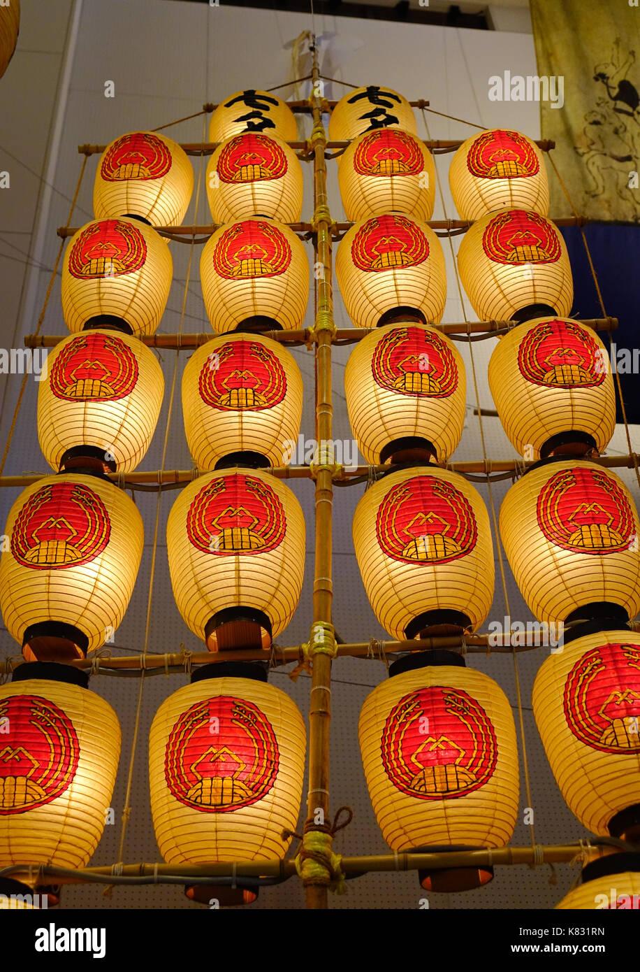 Akita, Japan - May 17, 2017. Kanto Lanterns at museum in Akita, Japan. Akita Kanto Festival Important Intangible Stock Photo