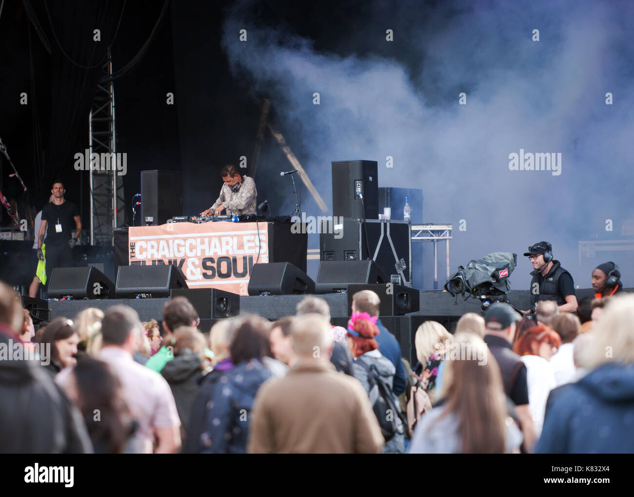 Actor host and broadcaster Craig Charles entertaining the crowd with his Funk and Soul club on the main stage at the 2017 OnBlackheath Music Festival - Stock Image