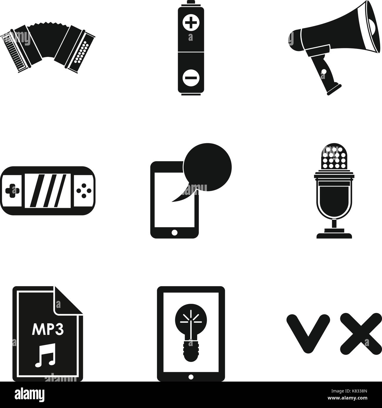 Music genre icons set, simple style - Stock Image