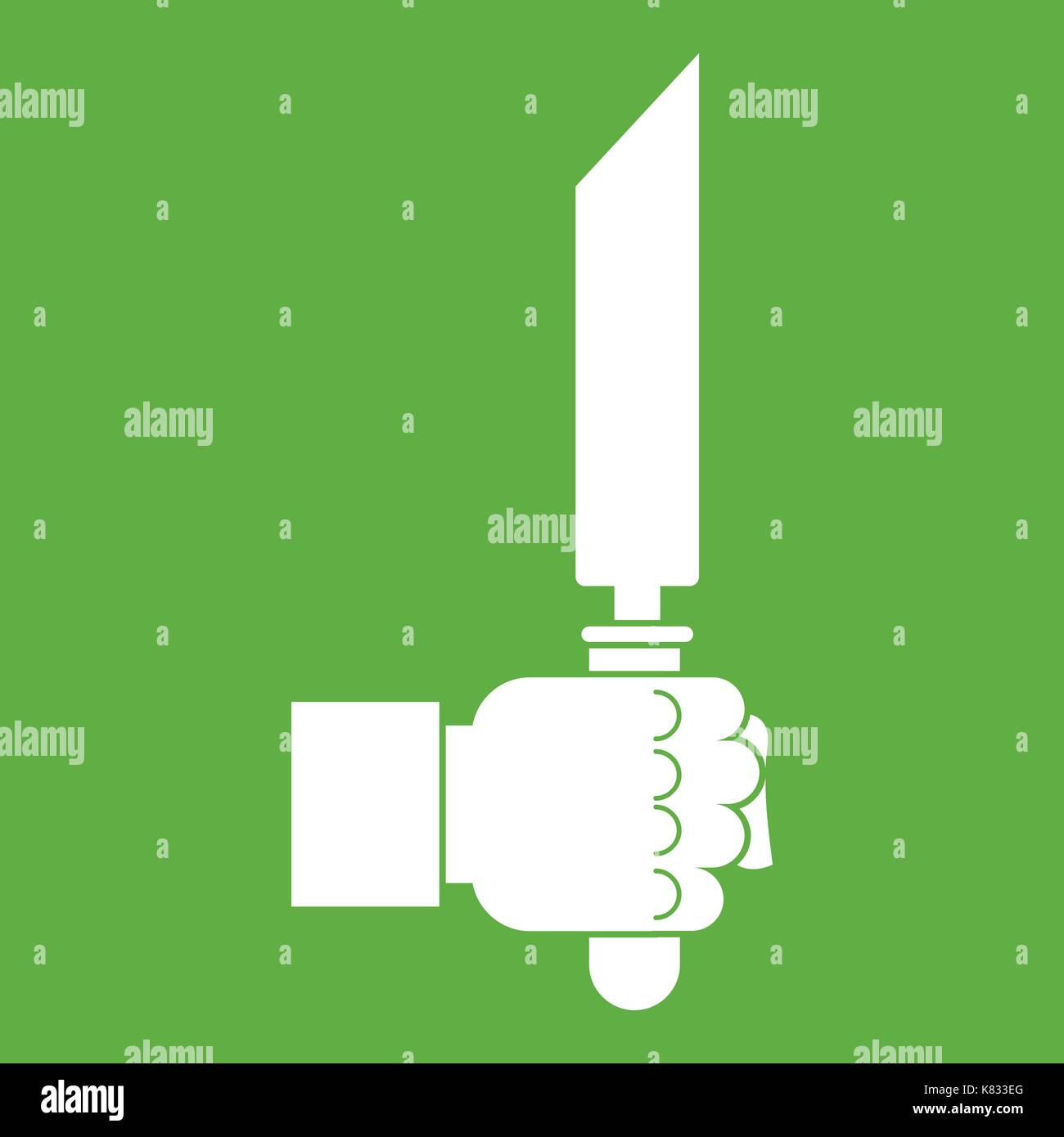 Pincer or plier in man hand icon green - Stock Image