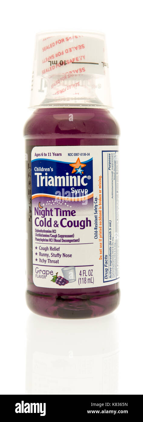 Winneconne, WI - 13 September 2017: A bottle of Triaminic night time syrup on an isolated background. - Stock Image
