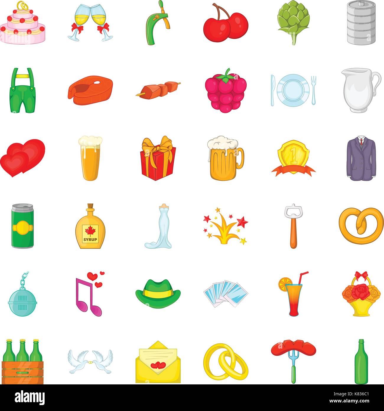Pretzel icons set, cartoon style - Stock Vector