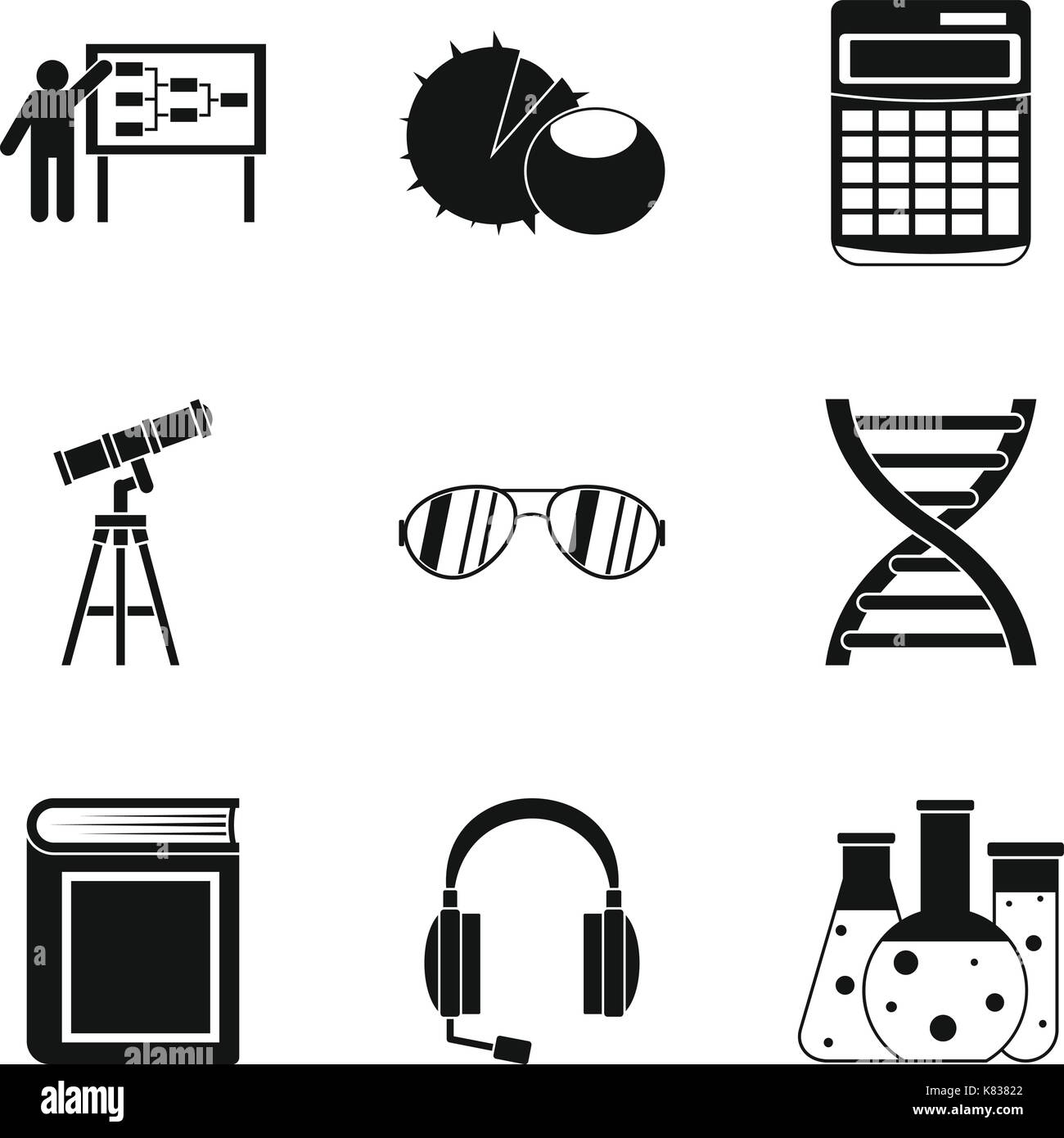 Doctrine icons set, simple style - Stock Vector