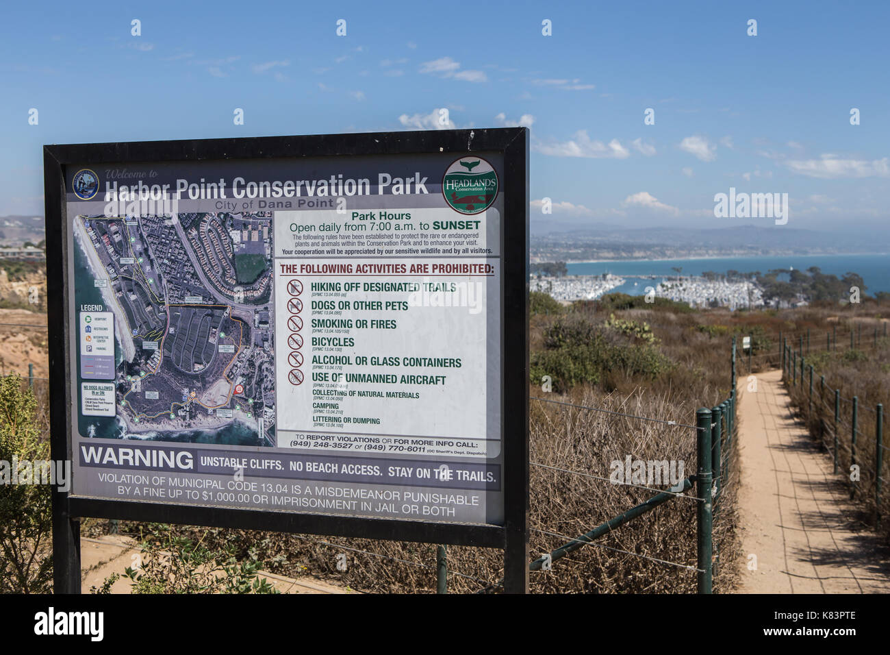 A sign at the Harbor point  Conservation Park in Dana Point California USA - Stock Image