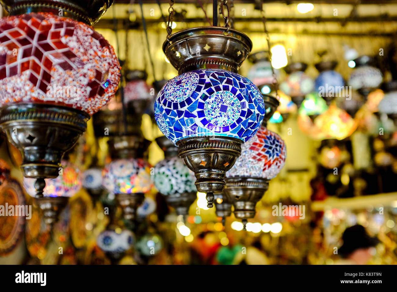 Turkish lanterns and other bracelets and rings are seen in shops in Kusadasi, Turkey. - Stock Image