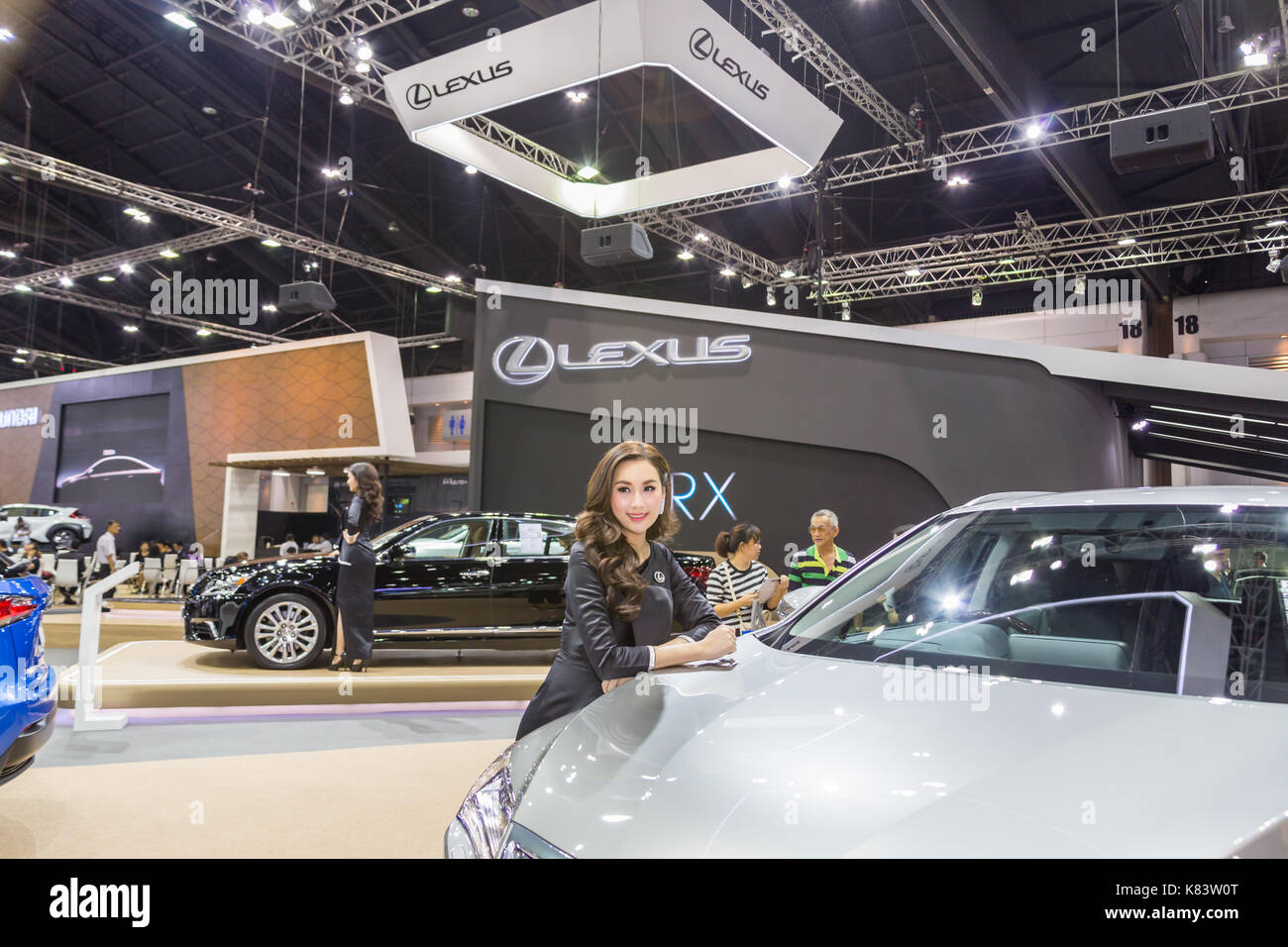 Bangkok, Thailand - December 11, 2016 : Unidentified model with Lexus car  at The 33nd Thailand International Motor Expo on  December 11,2016 in Bangk - Stock Image