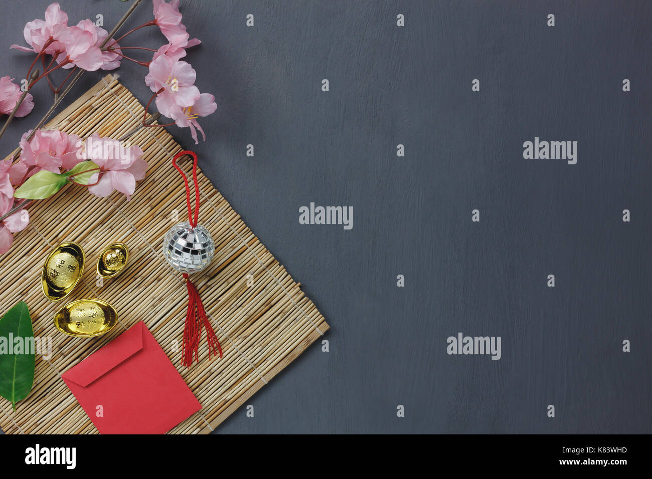 Overhead of top the important ornaments items for Happy Chinese new year  background concept.Essential 6c2fb62b92bd6