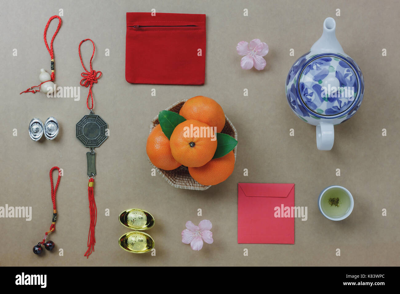 Flat Lay Of Top Decorations Chinese New Year Festive