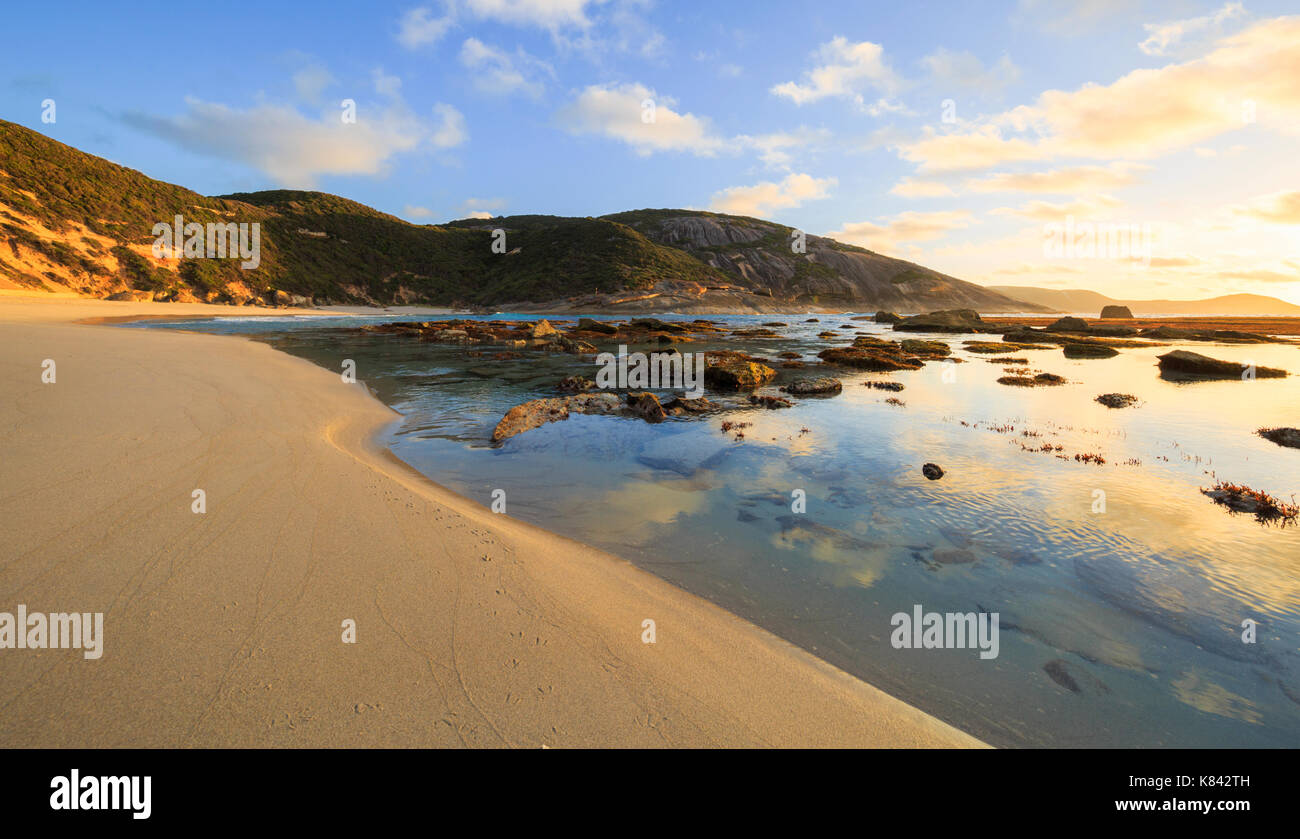 Sunrise at Salmon Holes in Torndirrup National Park, Albany, Western Australia - Stock Image