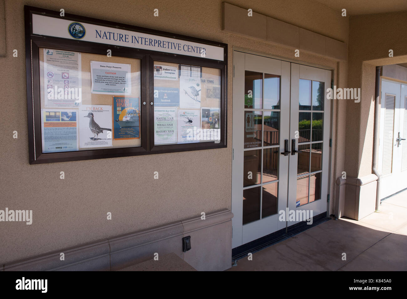 Exterior view of the entrance to the nature interpretive center in Dana Point, Southern California, USA. - Stock Image