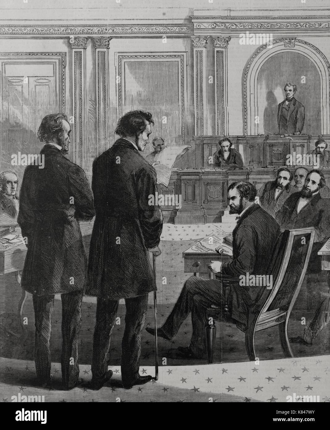 Impeachment - Thaddeus Stevens and John A. Bingham before the Senate, 1868 - Stock Image