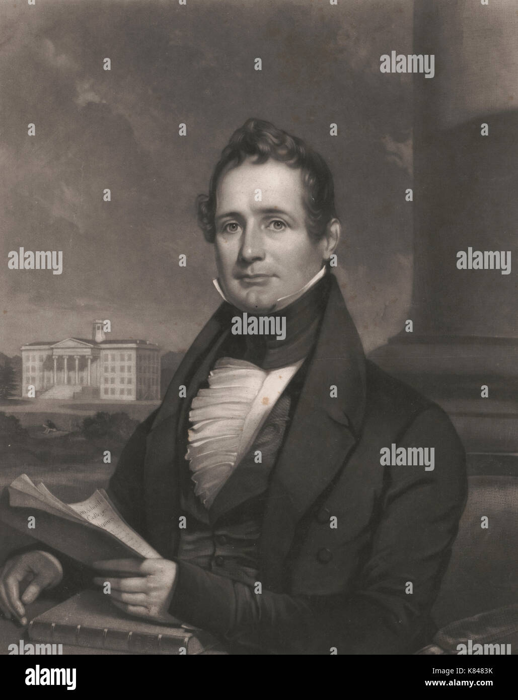 Thaddeus Stevens, half-length portrait, facing front, holding papers in left hand, resting on book, circa 1838 - Stock Image