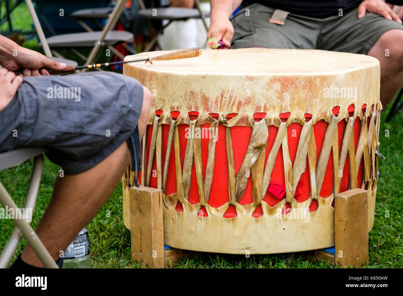 Canada First Nations ceremonial drum used for native communities ceremonies, dance, and celebrations. - Stock Image