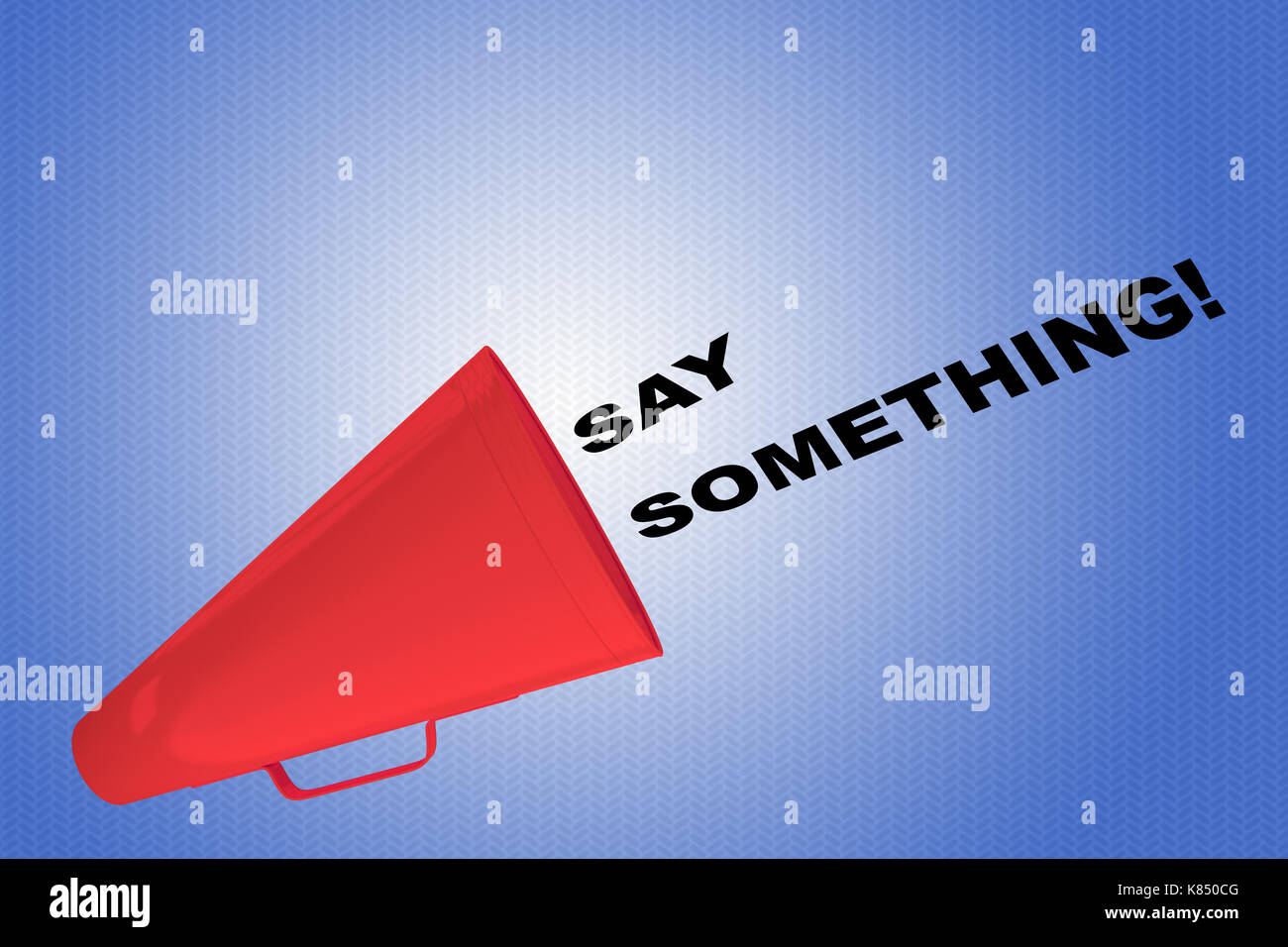 3D illustration of 'SAY SOMETHING!' title flowing from a loudspeaker - Stock Image