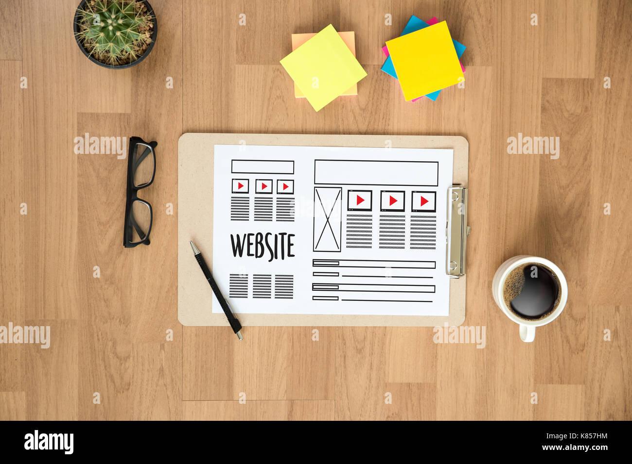 Website designer working layout sketch drawing Software Media WWW ...
