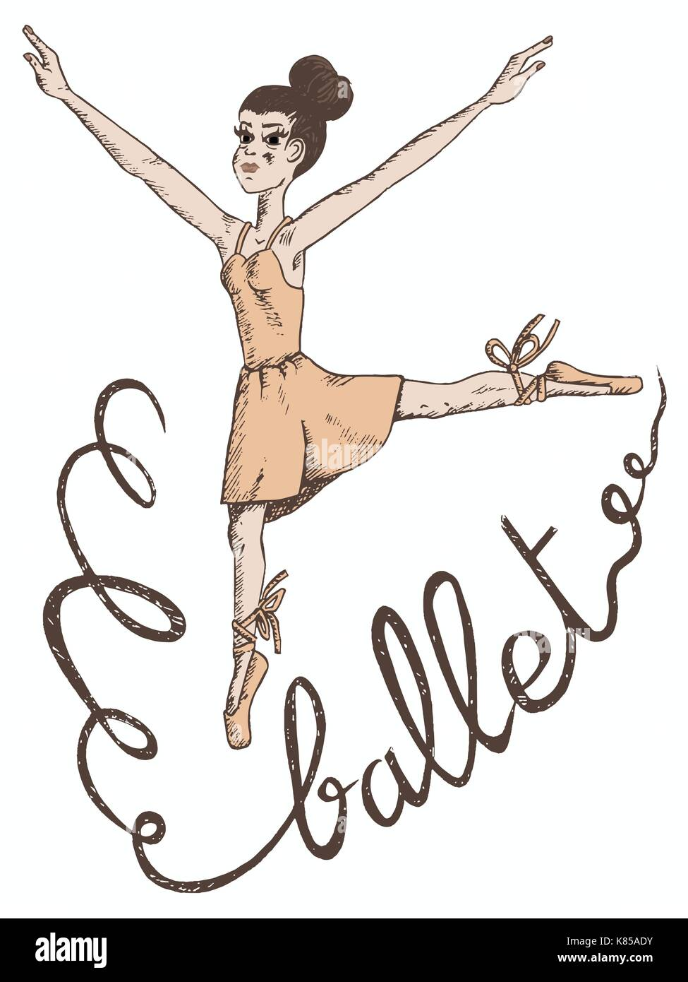 vector hand drawn illustration of a woman ballet dancer with ballet written in ribbon - Stock Vector
