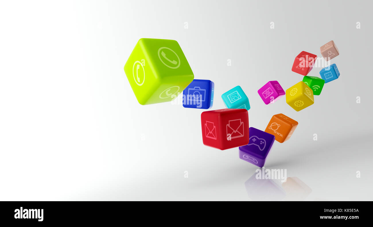 Mobile applications and media technologies concept Stock Photo