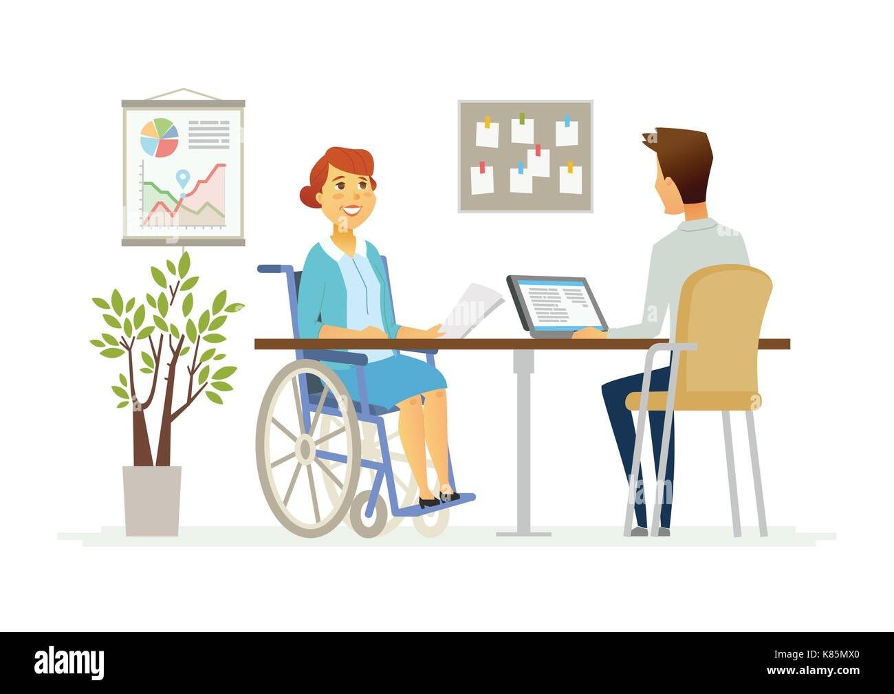 Disabled woman in the office - modern cartoon people characters illustration. A person in a wheelchair talks to a young colleague working at a tablet  - Stock Vector