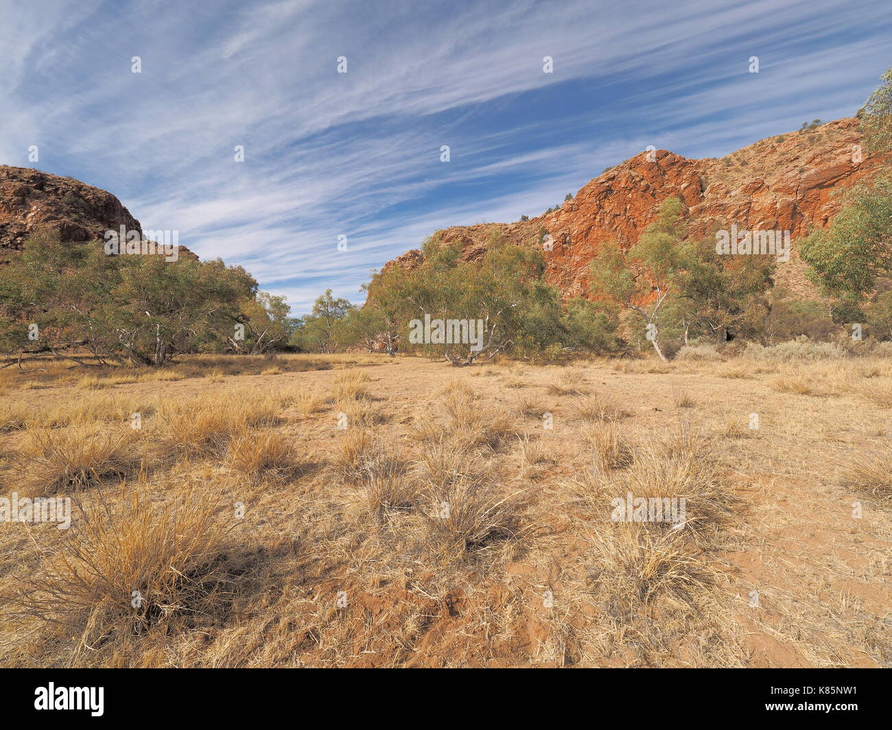 Jessie Gap form the north, MacDonnell ranges, outback Alice Springs, Australia 2017 - Stock Image