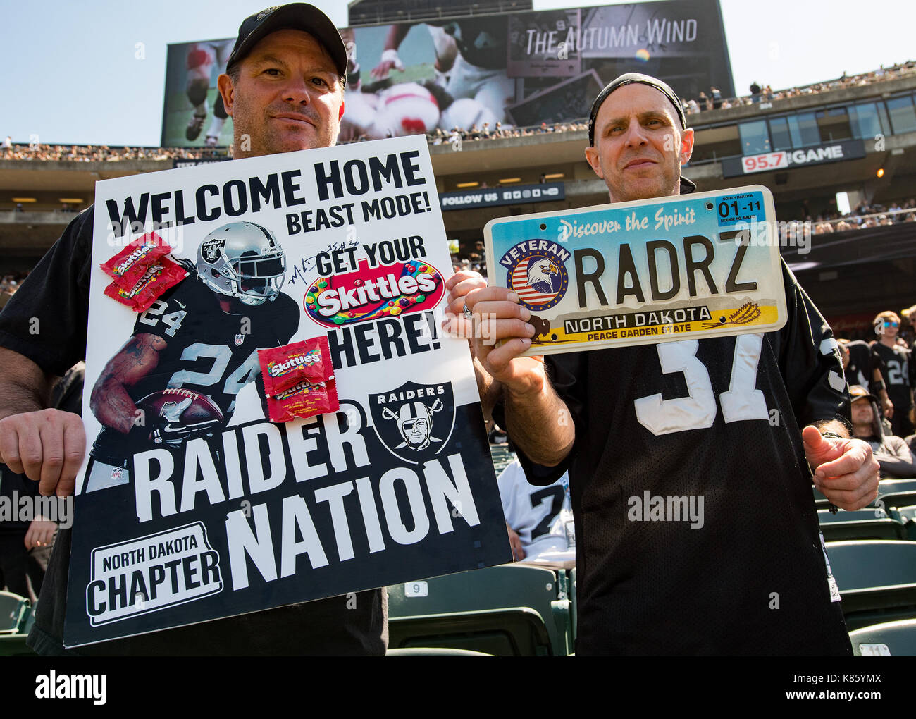 Oakland, California, USA. 17th Sep, 2017. Members of the Raider Nation (the official name for fans of the Oakland Raiders) before a NFL game between the New York Jets and the Oakland Raiders at the Oakland Coliseum in Oakland, California. Valerie Shoaps/CSM/Alamy Live News - Stock Image