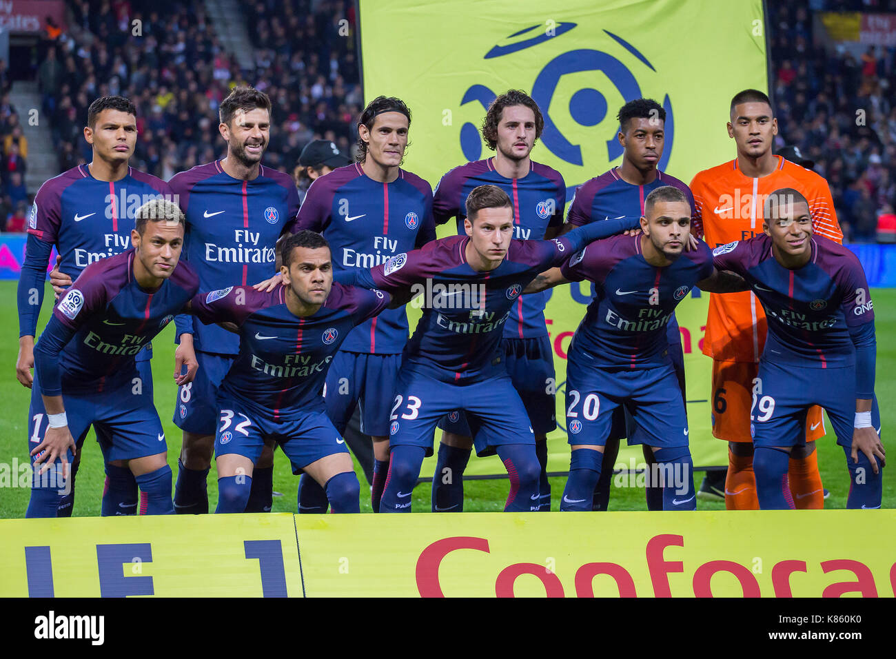 Psg Team Line Up Before The French Ligue 1 Soccer Match Between Paris Stock Photo Alamy